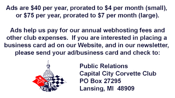 Ads are $35 per year. Contact our Public Relations Director to place your ad.
