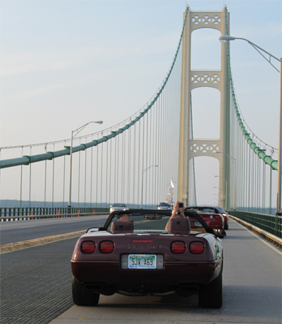 Carlo and Janet crossing the Mackinac Bridge during Corvette Crossroads in 2012