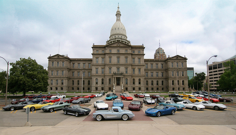 CCCC members Corvettes at the Capitol building in downtown Lansing, MI - 55th Anniversary Photo.