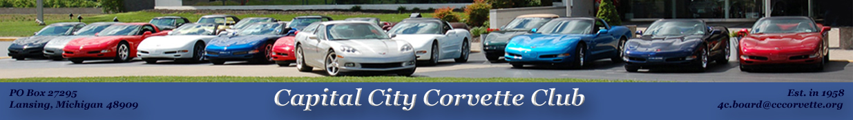 Corvettes owned by CCCC members parked in front of the National Corvette Musuem in Bowling Green, Kentucky.