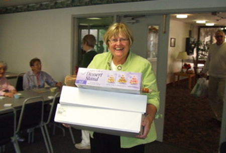 Sandy with some of the desserts for Bingo at Tamarack.