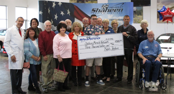 Children's Miracle Network check presentation at Shaheen Chevrolet.