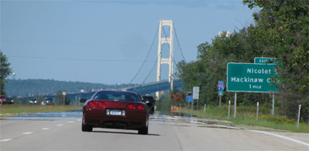 Kim and Sue arriving in Mackinaw City for Corvette Crossroads.