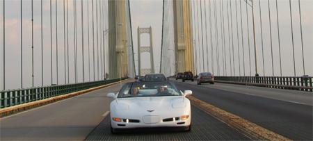 Corvette Crossroads 2012 - Rich and Colleen crossing the Mackinac Bridge.