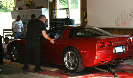 Ed gets his Corvette tested on the Chasis Dyno on July 19, 2009.