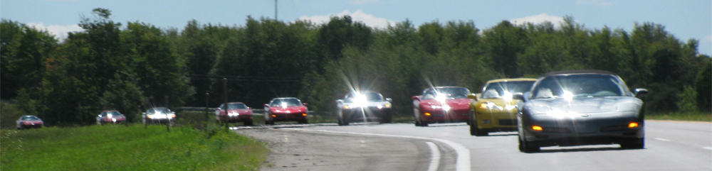 Capital City Corvette Club members on the drive to Corvette Crossroads in 2010.